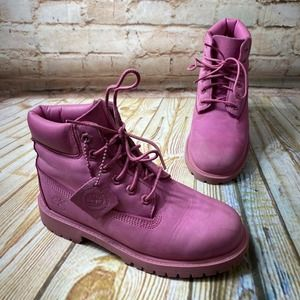Timberland Pink Leather Waterproof Hiking Boots
